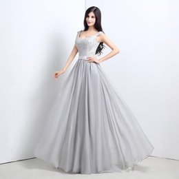Discount fast delivery long red prom dresses 2019 New Arrival V Neck Lace Crystal Lace-up Long Prom Dresses Vestido de festa Fast Delivery Gray Chiffon Evening Dress