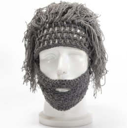 free handmade wigs Australia - Free shipping! Winter Men and Women Creative Knitting Caps Halloween Party Funny Handmade Wool Beard Wig Hats Wholesales