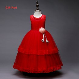 red tutu christmas NZ - Girls Summer 5 to 14 years tutu pearls dresses, 5 colors to chosen, baby kids & teenager boutique party lace clothes, 2AAX808DS-11