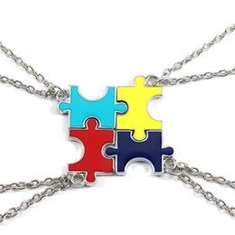 $enCountryForm.capitalKeyWord Australia - 4 Pcs Set Colorful Puzzles Pendant Necklaces Best Friend Forever Necklace Silver Chain Jewelry BFF Gifts For Family Gifts Women