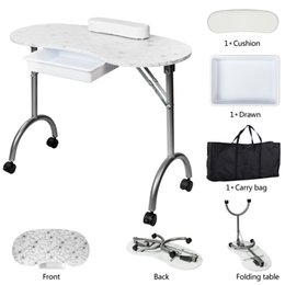 SONYI Manicure Nail Table Portable Folding Nail Station Desk 1-Drawer Manicure Table Technician Desk Workstation Client Wrist Pad White on Sale