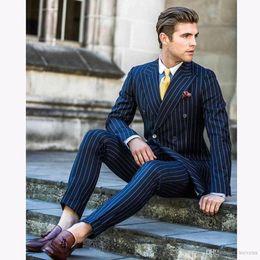 $enCountryForm.capitalKeyWord Australia - Vintage Two Pieces Slim Fit Wedding Blazer Double Breasted Side Vent Men's Business Suit Peaked Lapel Dinner Clothes(Jacket+Pants)
