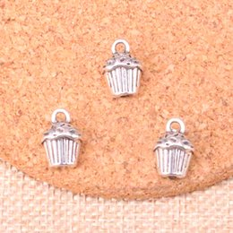 jewelry cupcakes Australia - 63pcs Charms 3D cupcake cake Antique Silver Plated Pendants Fit Jewelry Making Findings Accessories 13*10*8mm