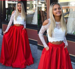 white lace long sleeve maternity dress Australia - 2 Pieces Lace White Red Homecoming Dresses Prom 2020 Cold Shoulder Illusion Long Sleeves Elegant Evening Formal Dress With Pockets Pageant