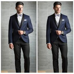 $enCountryForm.capitalKeyWord Australia - Elegant 2020 Men Suits For Wedding Slim Fit Groomsmen Tuxedos Tailor Made Shawl Lapel Wedding Suit Dark Navy Jacket (Jacket+Pants+Bow)