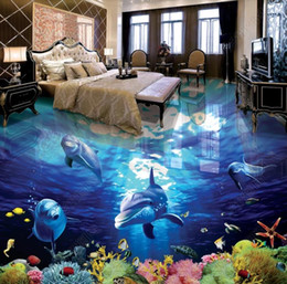Custom Decor Wholesaler Australia - custom 3d flooring dolphin 3d wallpaper vinyl flooring adhesives wall papers home decor
