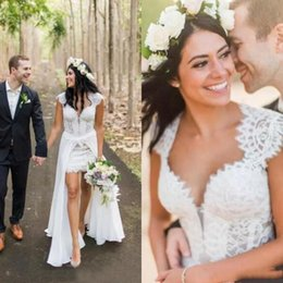 $enCountryForm.capitalKeyWord Australia - Bohemian Beach Overskirt Wedding Dresses 2020 Sweetheart Neck Capped Sleeves Open Back A Line Short White Lace Bridal Gown Custom Made Size
