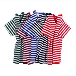Discount girls cotton undershirts - Baby Clothes Boys Summer T-Shirt Ins Girls Short Sleeve Shirts Fashion Tops Striped Casual Tees Round Collar Undershirts