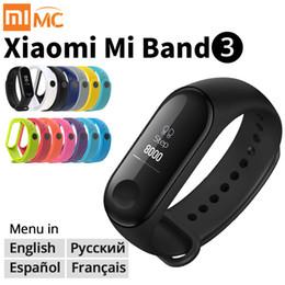 Origina Xiaomi Mi Band 3 Bracelet de remise en forme Bracelet de remise en forme MiBand Band 3 Grand écran tactile Message OLED Fréquence cardiaque Temps Smartband Bande TPU 3 en Solde