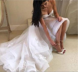 white short front long wedding dresses Australia - Front Short Long Back A Line Sweetheart High Low Boho Wedding Dresses Lace Appliques Sexy Beach Bridal Wedding Gowns
