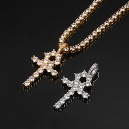Discount gold cross chain necklace Mens Silver Bling Egyptian Key Pendant Necklace Gold Plated Hip Hop Rhinestone Cuban unisex Chain Men Pendants Jewelry Accessories
