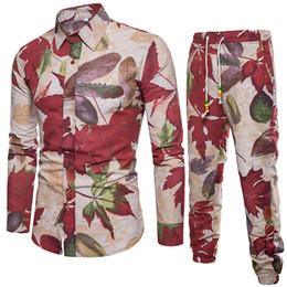 Venta al por mayor de Ropa de hombre FeiTong Set Primavera 2019 Camisa bohemia de manga larga ocasional Hombres de negocios Camisa de corte slim Imprimir Blusa Top + Pantalones Traje