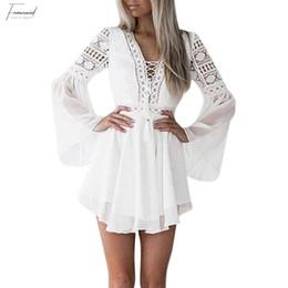 Plunge maxi dress sexy online shopping - Hollow Out Chiffon Dress Sexy Mini Dress Criss Cross Bandage Lace Semi Sheer Plunge V Neck Long Sleeve Dress Black White