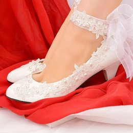 shoe sew pearls Canada - 5CM middle heel ivory lace wedding bridal shoes bride handmade plus size middle heeled organza bow riband lace pearls shoe