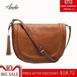 large brown crossbody bag NZ - 2019 Fashion AMELIE GALANTI large saddle bag crossbody bags for women brown flap purses with Tassel over the shoulder long strap