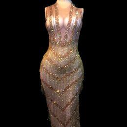 9ba275555d03 Stage dance Sexy dreSS online shopping - Women Sexy Stage Wear Bling Long  Dress Gold Tassel