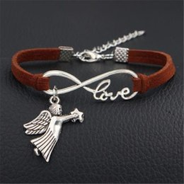 dark star leather NZ - Hot Fashion Women Men Vintage Infinity Love Star Fly Angel Wing Pendants Statement Bracelets Dark Brown Leather Suede Rope Jewelry Wholesale
