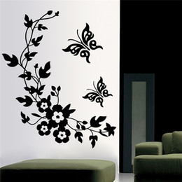 $enCountryForm.capitalKeyWord Australia - Butterfly Flower Vine Decorative Wall Stickers Home Decoration For Toilet Refrigerator Decor Kitchen Bathroom Mural Vinyl Decals