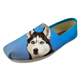 black white canvas prints UK - New product Ladies Loafers Comfortable Casual Female New 2019 Exclusive sales Lazy Sip on Flat Alaskan Malamute Print Shoes