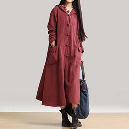 $enCountryForm.capitalKeyWord Canada - Loose Cotton Linen Dress Long Sleeve Women Vestidos Plus Size Women Clothing Long Hoodie Dress Large Sizes 4xl 5xl Maxi Dresses Y190425