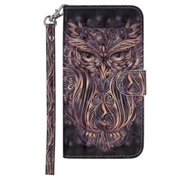 $enCountryForm.capitalKeyWord UK - Leather Flip cover phone case for Iphone 6 6s 7 8 7plus x xs xr xs max Painted 3D owl with Credit card slot wallet shockproof cases