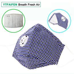 Anti Dirt Australia - YTFAIFEN Boy Cotton Mask for Dust with 6 Layers Activated Carbon Filter 1 Flow Valve Blue Grid Anti Dust Dirt Pollution Gas Haze