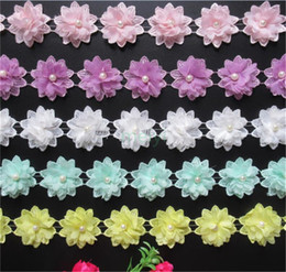 $enCountryForm.capitalKeyWord NZ - 1 Yard 3D Flower Pearl Lace Edge Trim Ribbon 2 inch Width Assorted Color Edging Trimming Fabric Embroidered Applique Wedding Sewing Craft