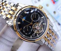 China men automatiC watChes online shopping - All work Sun moon ANTIQUE SILVE mm C CHINA cheap mechanical automatic men watch fashion new Stainless steel mens watche