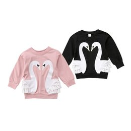 BaBy cotton jumper online shopping - Lovely Baby Girl Swan Print Hoodies Sweatshirts Jumper Top Toddler Girls Kids Autumn Ruffles Pullover Hooded Cotton Tops Clothes