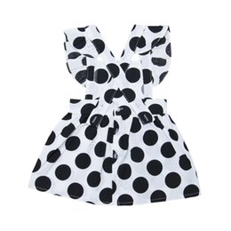 Wholesale Summer Kids Girls Cotton Dress Casual Sleeveless Strap Black And White Dot Print Dress Costume Baby Children Backless Dresses
