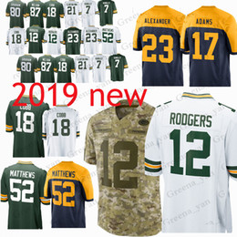 9f6f96691 12 Aaron Rodgers Green Bays Packer jerseys 23 Jaire Alexander 52 Clay  Matthews 17 Davante Adams 80 Graham 4 Favre jersey youth and adult