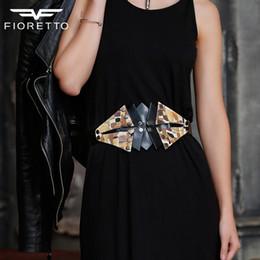 $enCountryForm.capitalKeyWord NZ - Fioretto Women Belts 100% Genuine Leather Luxury Print Rivets Bow Wide Belt for Dress Ladies Button Waistband C19010301