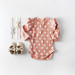 Infant Rompers Girls Australia - Newborn Baby Girl Romper Infant Knitted Love Jumpsuit Spring Autumn Toddler Clothes Cotton Long Sleeve Ruffles Rompers Outfits