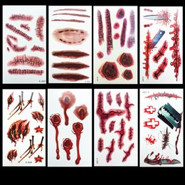 $enCountryForm.capitalKeyWord Australia - Best Selling Halloween Zombie Scars Tattoos with Fake Scab Bloody Makeup 3D Decoration Wound Scary Blood Injury Sticker Cosplay Costumes