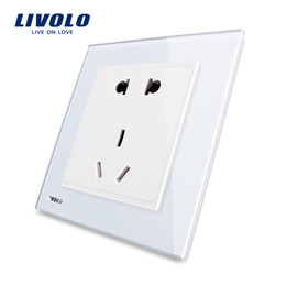 Standard Power Socket Australia - Livolo UK standard 2 Gangs Home Wall Power Socket ,Black Crystal Glass Panel,UK Double Power Point