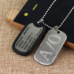 Browning Pendants Australia - Gangsta A 0 Dog Tag Nicolas Brown Mercenary Necklace Pendant Gangsta Cosplay Link Chain Necklace Alloy A 0 Dog Tag Cosplay Props