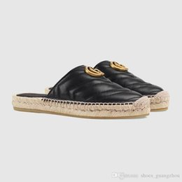 $enCountryForm.capitalKeyWord NZ - Classic ladies leather grass woven shoes, flat slippers beach Baotou Woven grass bottom sole casual shoes ladies suit, suitable for daily us