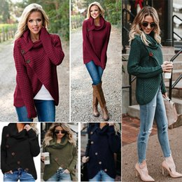 Wholesale cowl necked sweater for sale - Group buy Winter Women Warm Chunky Button Knit Sweater Casual Turtle Cowl Neck Hem Wrap PUllover Cardigan irregular Outwear Jacket Coat Xmas WX9