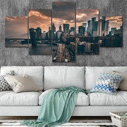 York Canvas Prints Australia - Canvas Posters Home Decor Wall Art Framework 5 Pieces New York Paintings For Living Room HD Prints Modern Cityscape Pictures