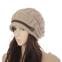 Beanies For Winter NZ - 1Pcs Hot Sales Woman Winter Bonnet Hat Female Knitted Crochet Casual Cap Beanies For Women Solid Color Warm Caps Skullies Bonnet Y18110503