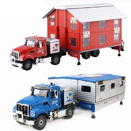 $enCountryForm.capitalKeyWord Australia - Alloy Diecast Motor Homes Truck 1:50 Motor Trailer Limous Folding 4 Telescope Stand Vehicle Model Collection Gift For Kids Toy J190525