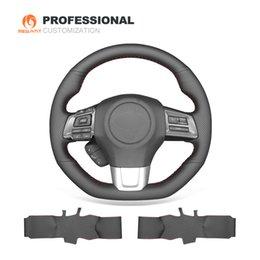 MEWANT Cubierta de volante de coche cosida a mano en cuero genuino negro para Subaru WRX (STI) 2015-2019 Levorg 2015-2019 en venta