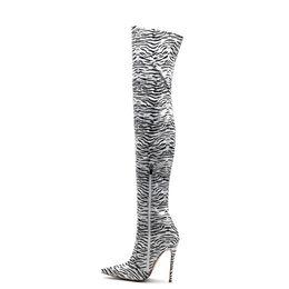 $enCountryForm.capitalKeyWord Australia - designer shoes women 2019 new winter fashion boots stiletto heel zebra Animal Prints pointed toes spike high heels Thigh High boots botas