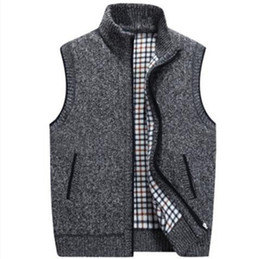 Discount wool winter coat grey men - Plus sizes warm sweaters vest men thick sleeveless v neck jumper pullovers mens casual wool sweater coat fall winter 201