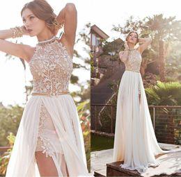 $enCountryForm.capitalKeyWord Australia - Fabulous 2019 Summer Beach A Line Chiffon Prom Dresses Halter Lace Appliques Beaded Evening Gown High Split Empire Wasit Party Dress AL2104