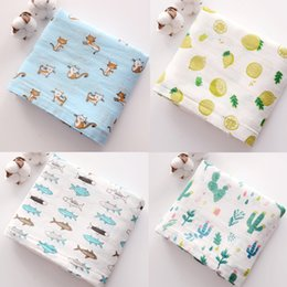 muslin baby swaddle blankets wholesale NZ - Newborns Muslin Bamboo Blanket Baby Muslin Wraps Swaddle Infant Cotton Receiving Bedding Bath Towel Sleeping cart covers