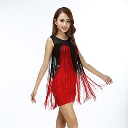 dress sexy dance club NZ - Summer Women Sexy Gradual Fringe Mini Bodycon Dress Sleeveless Patchwork Mesh Club Party Slim Sheer Ballroom Dance Dress