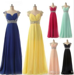 $enCountryForm.capitalKeyWord Australia - Cheap Chiffon Formal Occasion Prom Evening Dresses Beads Yellow Red Silver Royal Blue Mint Blush Bridesmaid Party Gowns Long Real Image 2019