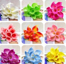 Fake Lilies Flowers Australia - 33 Colors PU Calla Lily Artificial Flower Bouquet Real Touch Party Wedding Decorations Fake Flowers Home Decor 38cm*6cm