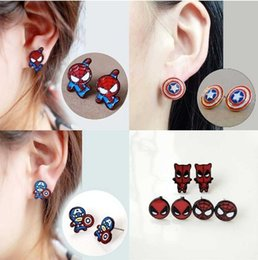 Earring Heroes Australia - Cartoon Movie Stud Jewelry Super Hero Marvel Alloy Spiderman Captain America Deadpool Stud Earrings